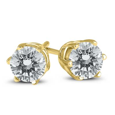 1 Carat TW 6 Prong Round Diamond Solitaire Stud Earrings In 14k Yellow Gold