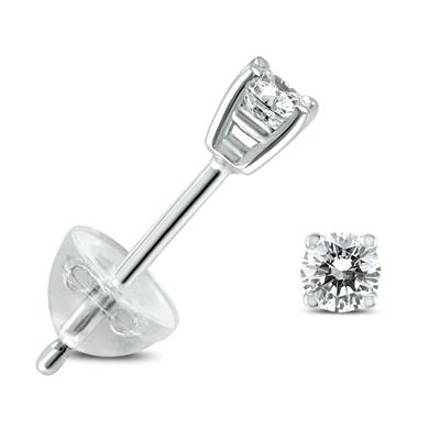 .09CTW Round Diamond Solitaire Stud Earrings In 14k White Gold with Silicon Backs