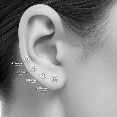 .55CTW Round Diamond Solitaire Stud Earrings In 14k White Gold with Silicon Backs