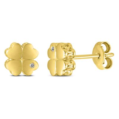 Diamond Accent Four Leaf Clover Earrings in 14K Yellow Gold