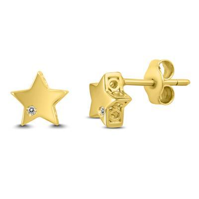 Diamond Accent Star Earrings in 14K Yellow Gold