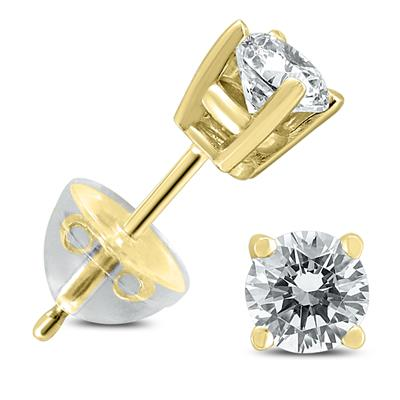 .50CTW Round Diamond Solitaire Stud Earrings In 14k Yellow Gold with Silicon Backs
