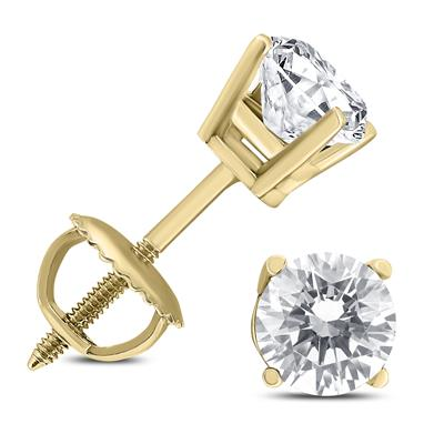 e27b4b117 SOLITAIRE EARRINGS. SAVE 33%. 1 Carat TW AGS Certified Round Diamond  Solitaire Stud Earrings in 14K Yellow Gold