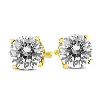 1 Carat TW AGS Certified Round Diamond Solitaire Stud Earrings in 14K Yellow Gold