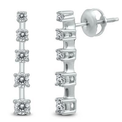 1/2 Carat TW 5 Stone Journey Drop Earrings in 14K White Gold