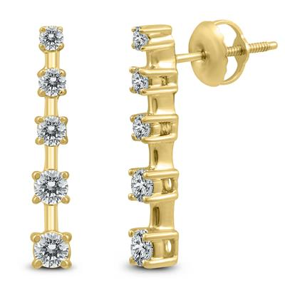 1/2 Carat TW 5 Stone Journey Drop Earrings in 14K Yellow Gold