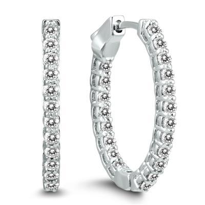 7c0e133de444a 1 Carat TW Oval Diamond Hoop Earrings with Push Button Locks in 14K ...