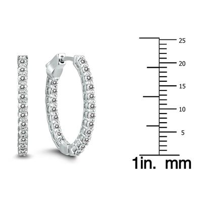7cf9fab1c9ce0 AGS Certified 1 Carat TW Oval Diamond Hoop Earrings with Push Button ...