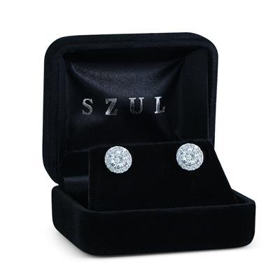 AGS Certified 2 Carat TW Diamond Halo Earrings in 14K White Gold