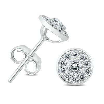1/4 Carat TW Diamond Halo Earrings in 14K White Gold