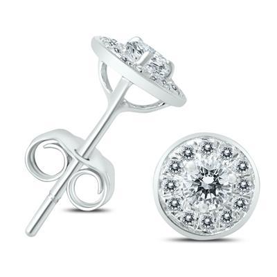 1/2 Carat TW Diamond Halo Earrings in 14K White Gold