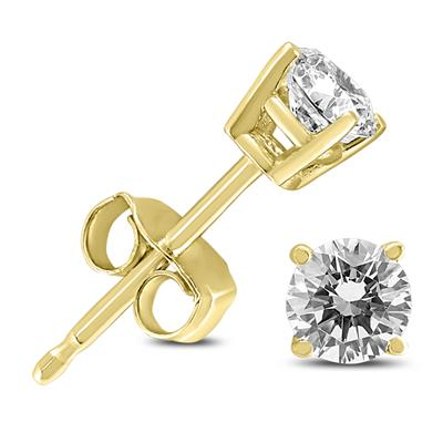 1/3 Carat TW Round Diamond Solitaire Stud Earrings In 14k Yellow Gold