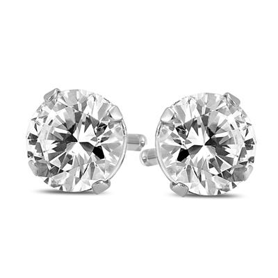 Premium Cut: 1 1/2 Carat TW Round Diamond Solitaire Stud Earrings in 14K White Gold (J-K Color, SI1-SI2 Clarity)