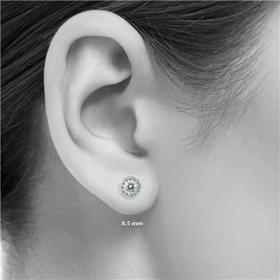 14K White Gold 1 Carat TW Diamond Halo Earrings