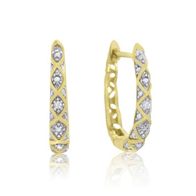 Delicate Diamond Hoop Earring in Rhodium Plated Brass