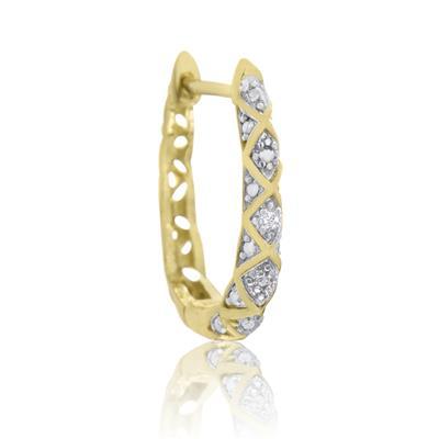 Delicate Diamond Hoop Earring in Rhodium Plated Brass
