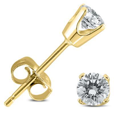 1/2 Carat TW Round Diamond Studs 14K Yellow Gold