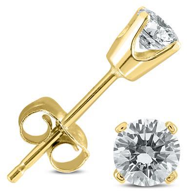 5/8 Carat TW Diamond Studs in 14K Yellow Gold Push Back Settings