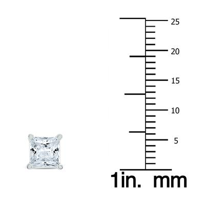 1 1/2 Carat TW Princess Diamond Solitaire Earrings in 14K White Gold