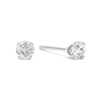 .05 Carat Tw Round Diamond Stud Earrings In .925 Sterling Silver