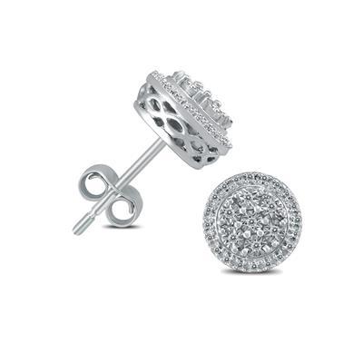 1/10 Carat TW Diamond Halo Earrings in .925 Sterling Silver