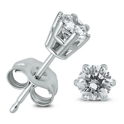 AGS Certified 1/2 Carat TW 6 Prong Round Diamond Solitaire Stud Earrings In 14k White Gold