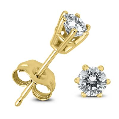 AGS Certified 1/4 Carat TW 6 Prong Round Diamond Solitaire Stud Earrings In 14k Yellow Gold