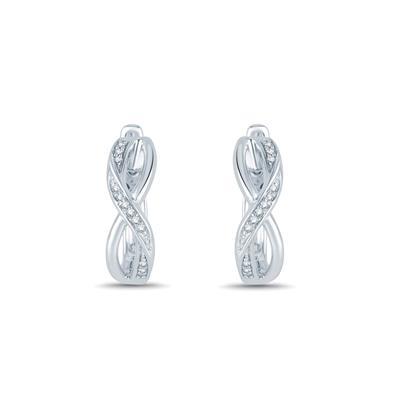 1/8 Carat TW Oval Shape Diamond Infinity Hoop Earrings