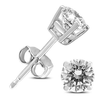 Almost 3/4 Carat TW Round Diamond Solitaire Stud Earrings in 14K White Gold