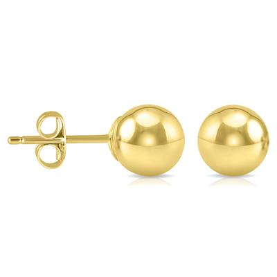 6MM 14K Yellow Gold Filled Round Ball Earrings