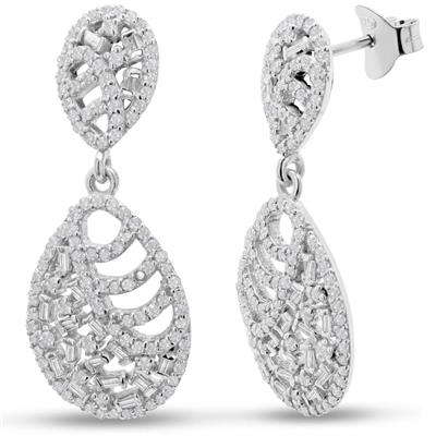 2 1/2 Carat TW Baguette Diamond Drop Earrings In Sterling Silver, 1 1/2 Inches