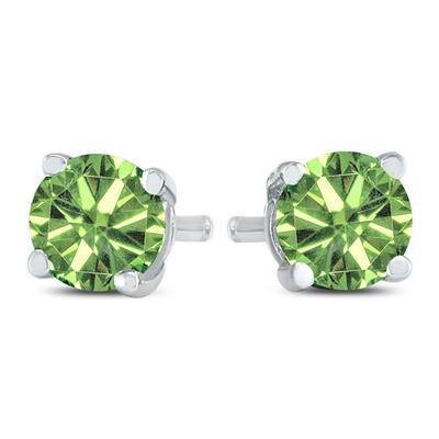 1 Carat TW Round Green Diamond Solitaire Stud Earring in 10k White Gold
