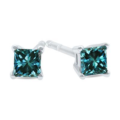 1/4 Carat TW Princess Cut Blue Diamond Solitaire Earrings in 10K White Gold