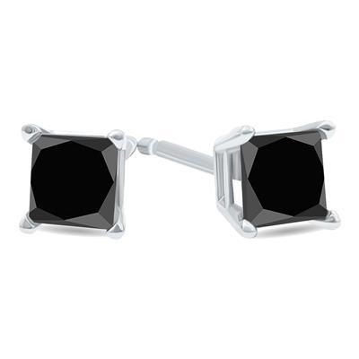3/4 Carat TW Black Diamond Princess Cut Solitaire Stud Earrings in 10K White Gold