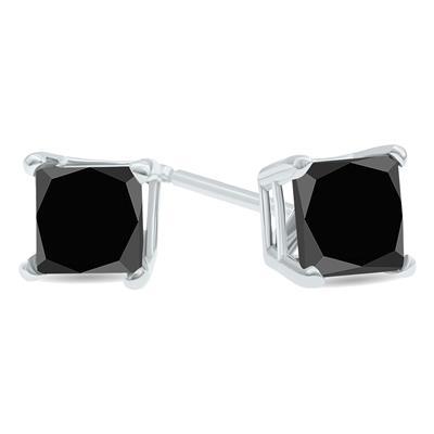1 1/2 Carat TW Black Diamond Princess Cut Solitaire Stud Earrings in 10K White Gold
