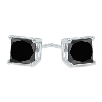 2 Carat TW Black Diamond Princess Cut Solitaire Stud Earrings in 10K White Gold