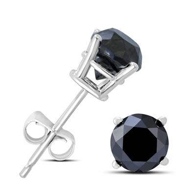 3/4 Carat TW Round Black Diamond Solitaire Stud Earrings in 10K White Gold