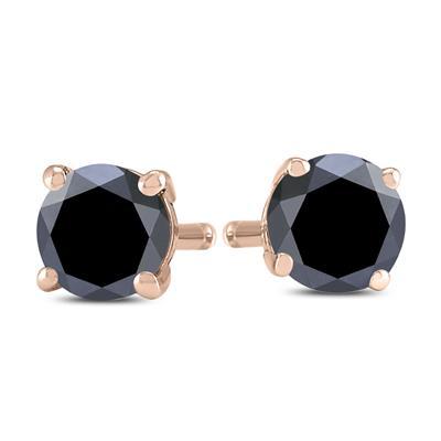 3/4 Carat TW Round Black Diamond Solitaire Stud Earrings in 10K Rose Gold