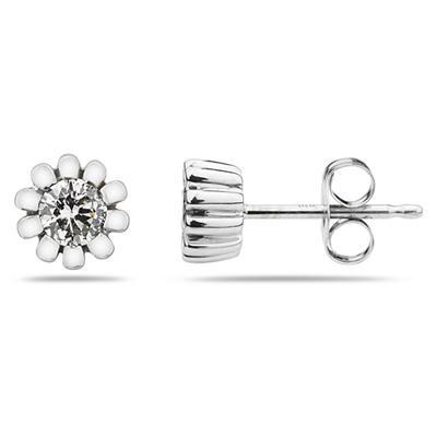Diamond Stud Flower Earrings in White Gold