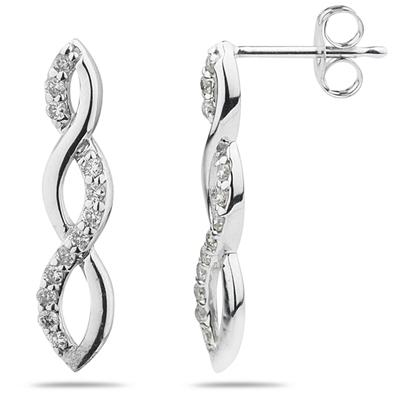 Diamond Twist Earrings in 14K White Gold