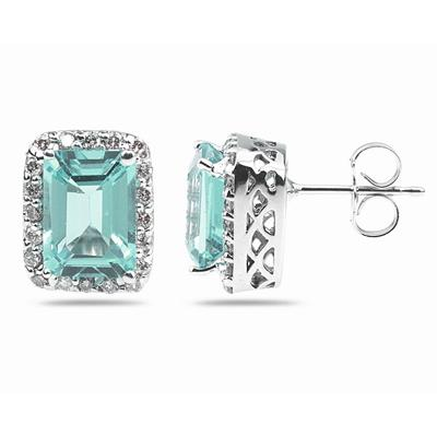 3 3/4 Carat TW Emerald Cut Aquamarine  and Diamond Earrings in 14K White Gold