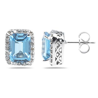 3 3/4 Carat TW Emerald Cut Blue Topaz and Diamond Earrings in 14K White Gold