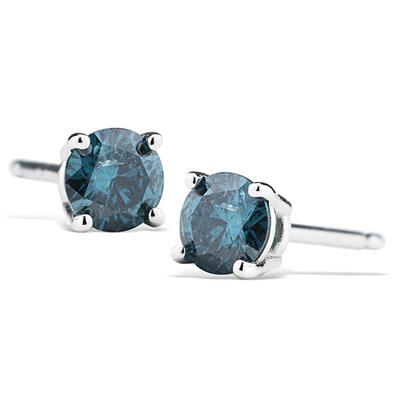 1/4CT Blue Diamond Earrings in 14K White Gold