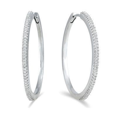 1/3 Carat TW Genuine Diamond Hoop Earrings in Platinum Plated .925 Sterling Silver