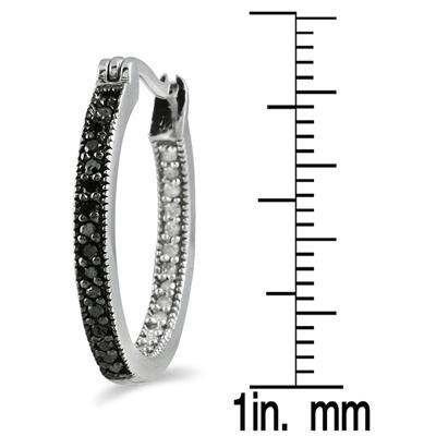 1/3 CTW Genuine Black and White Diamond Hoop Earrings in .925 Sterling Silver