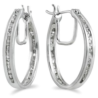 1/4 Carat Diamond Inside Out Channel Hoop Earrings in .925 Sterling Silver