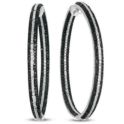 1.20 CTW Big Black & White Genuine Diamond Inside Out Hoops