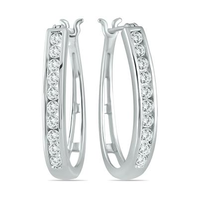 1 Carat TW Diamond Hoop Earrings in 10K White Gold (K-L Color, I2-I3 Clarity)