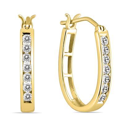 1/2 Carat TW Diamond Hoop Earrings in 10k Yellow Gold (K-L Color, I2-I3 Clarity)