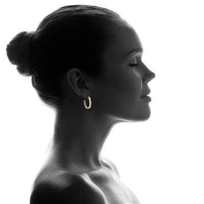 1/2 Carat TW Diamond Hoop Earrings in 10k Yellow Gold